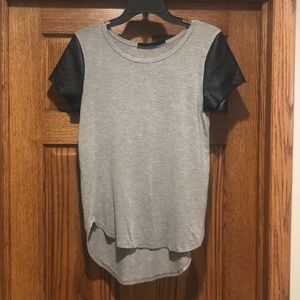 Francesca's grey + faux leather short sleeve shirt